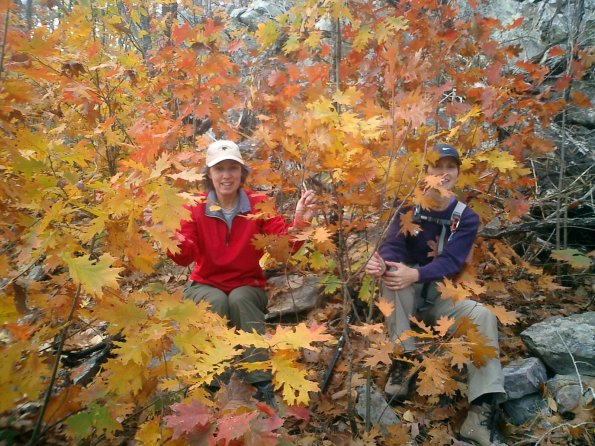 Kris McMillen and Brenda Lea have some fun in the fall colors Nov 2005